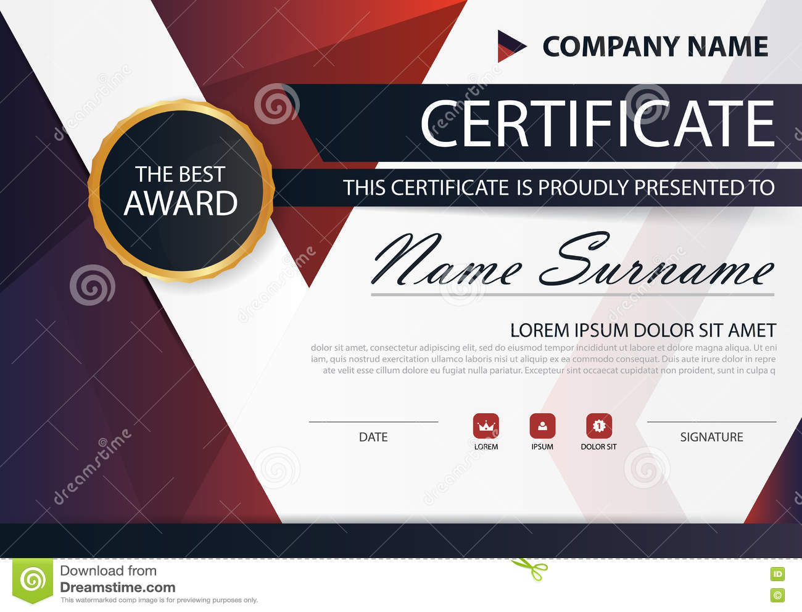 Certificat horizontal d élégance noire rouge avec l illustration de vecteur, calibre blanc de certificat de cadre avec le modèle
