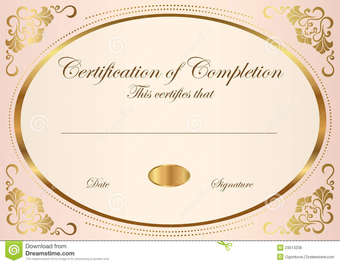 Gold Certificate Of Completion Template