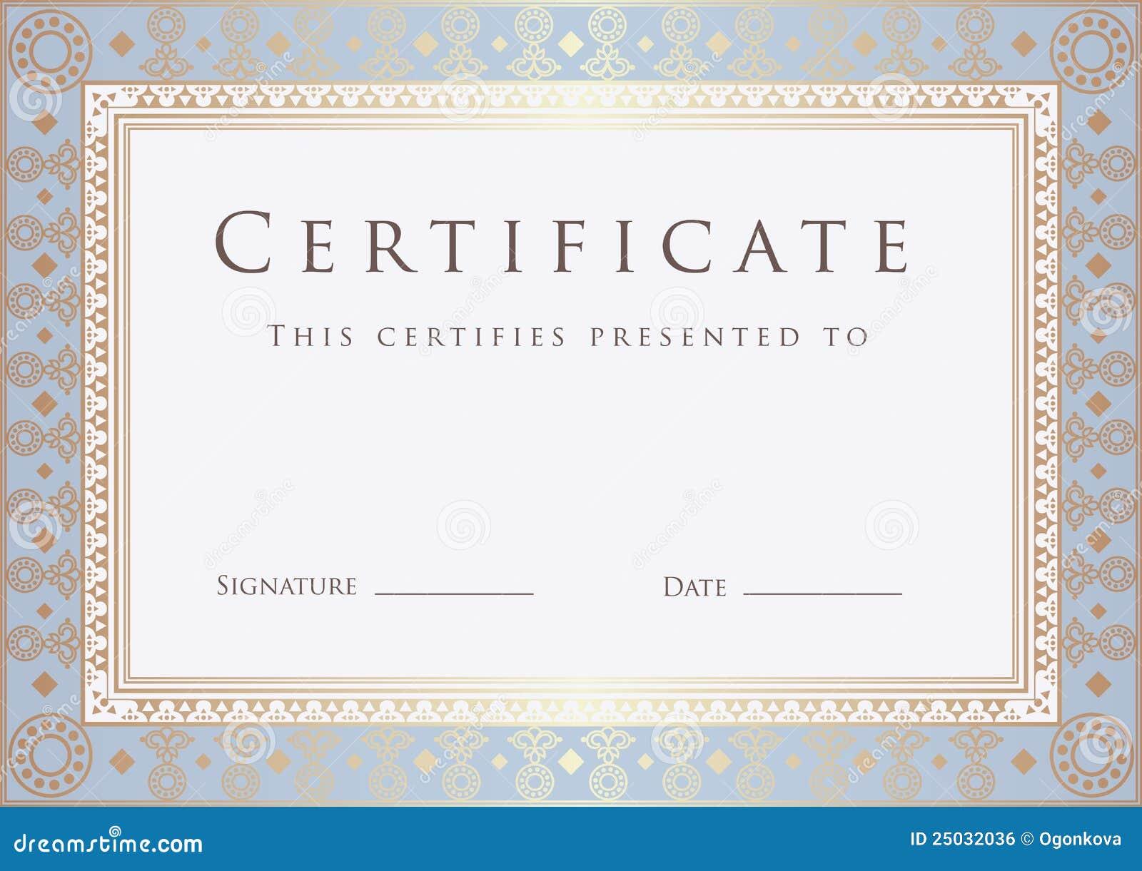 Certificate / Diploma Award Template. Pattern Royalty Free Stock Image ...