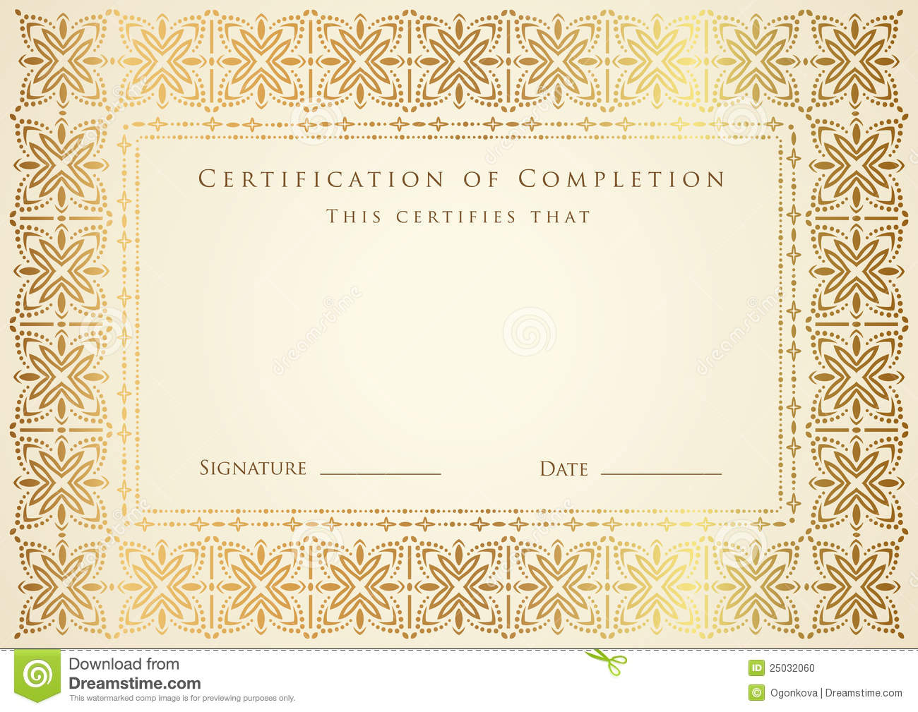 Certificate / Diploma Award Template. Pattern Stock Vector ...