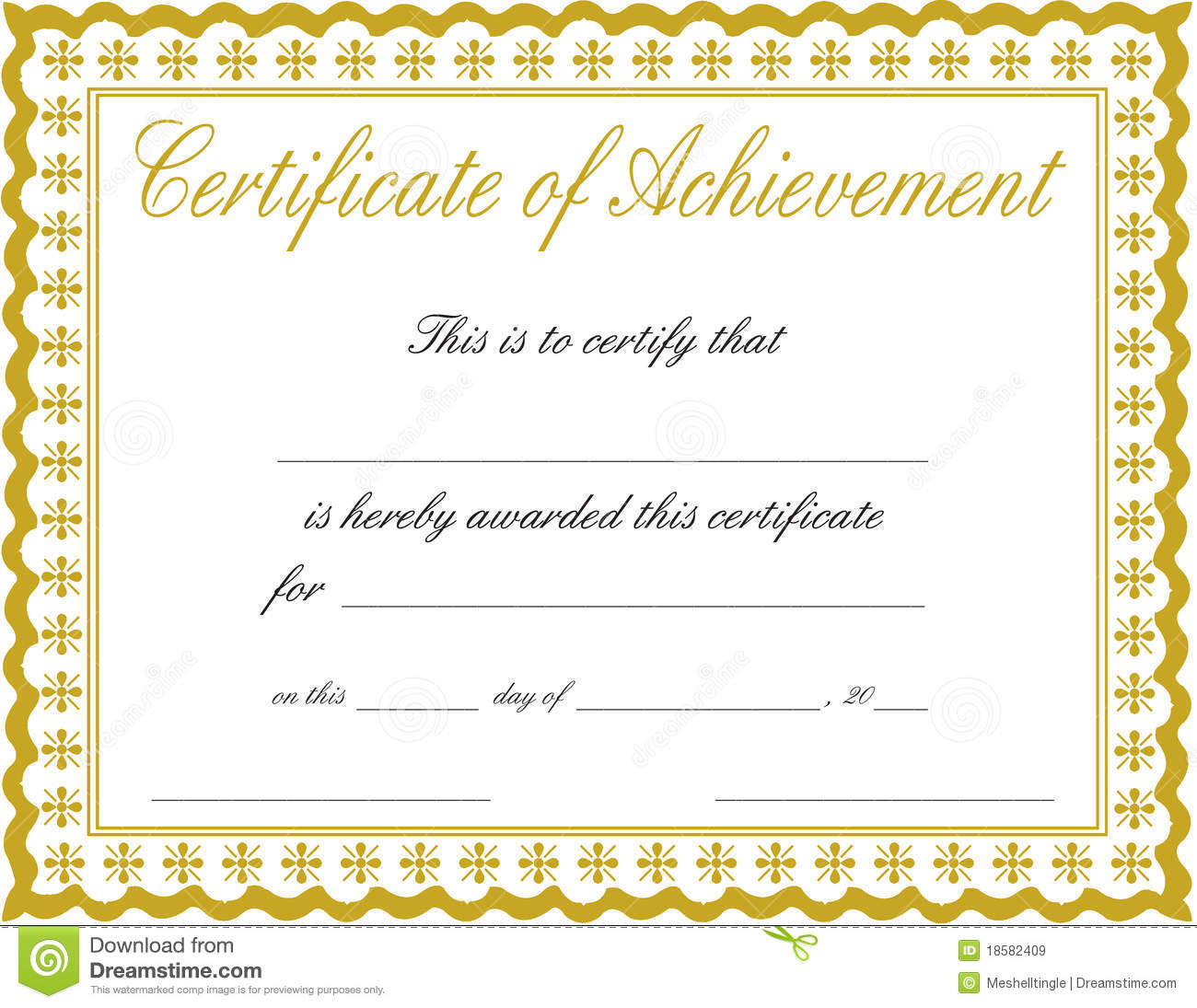 Certificate Of Achievement Royalty Free Images Image 18582409 – Blank Achievement Certificates