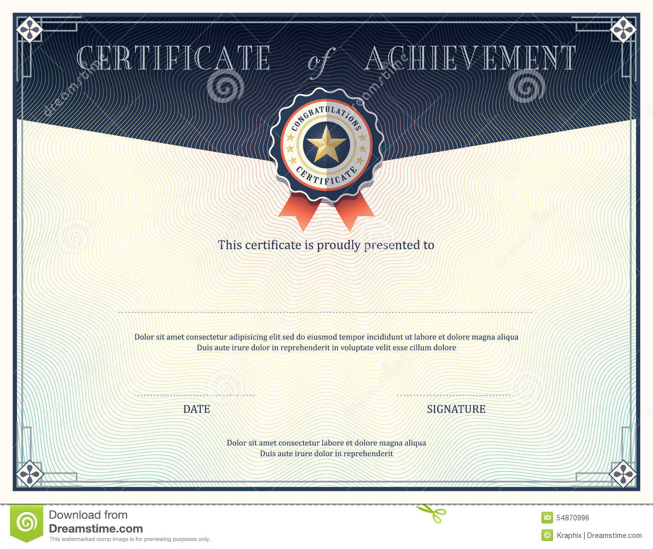 Certificate Of Achievement Design Template Vector Image – Template Certificate of Achievement