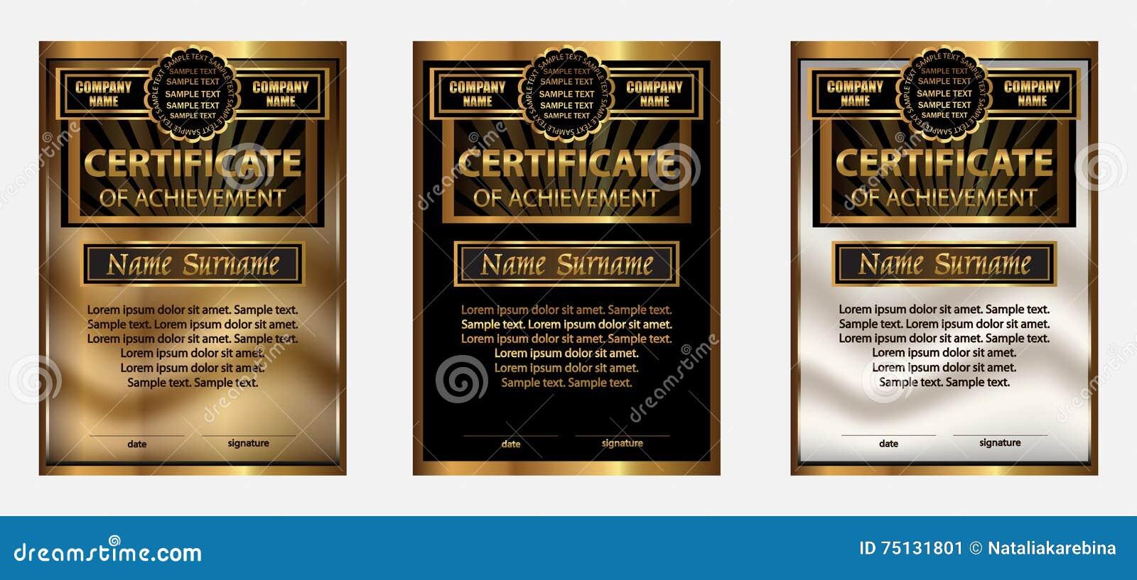 Certificate Of Achievement Or Diploma Set Gold Reward Winning