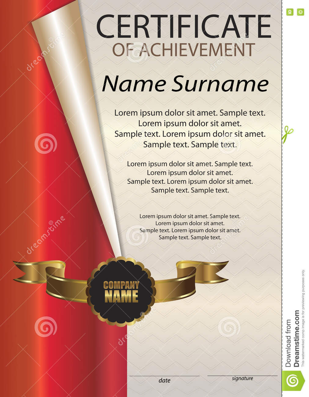 Certificate Of Achievement Or Diploma Vertical Template Stock