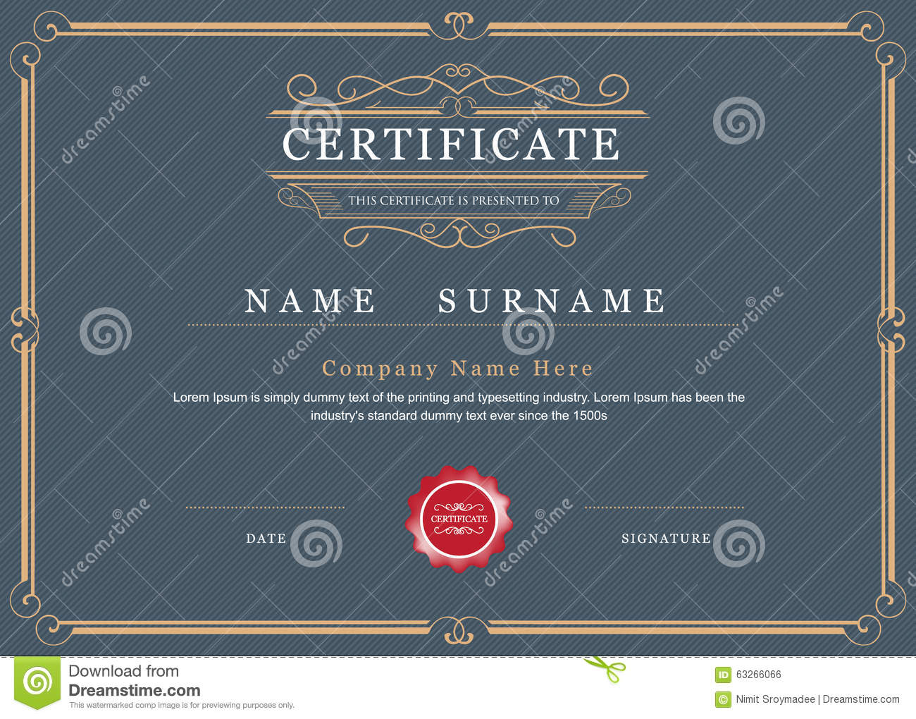 Certificate achievement frame border vector elegant