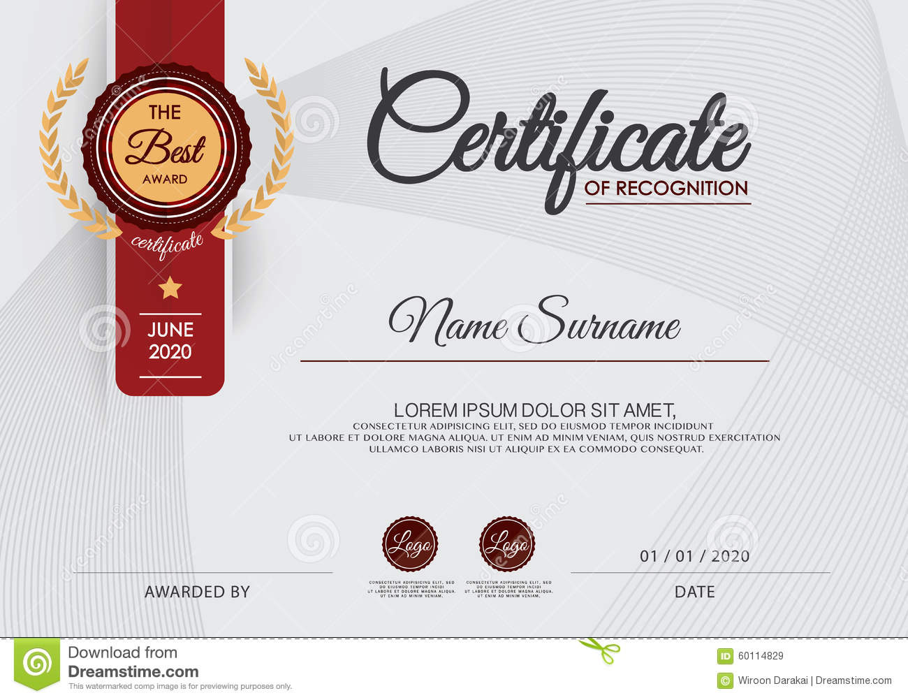Certificate Of Achievement Frame Design Template,blue. Award, Formal.  Free Certificate Template
