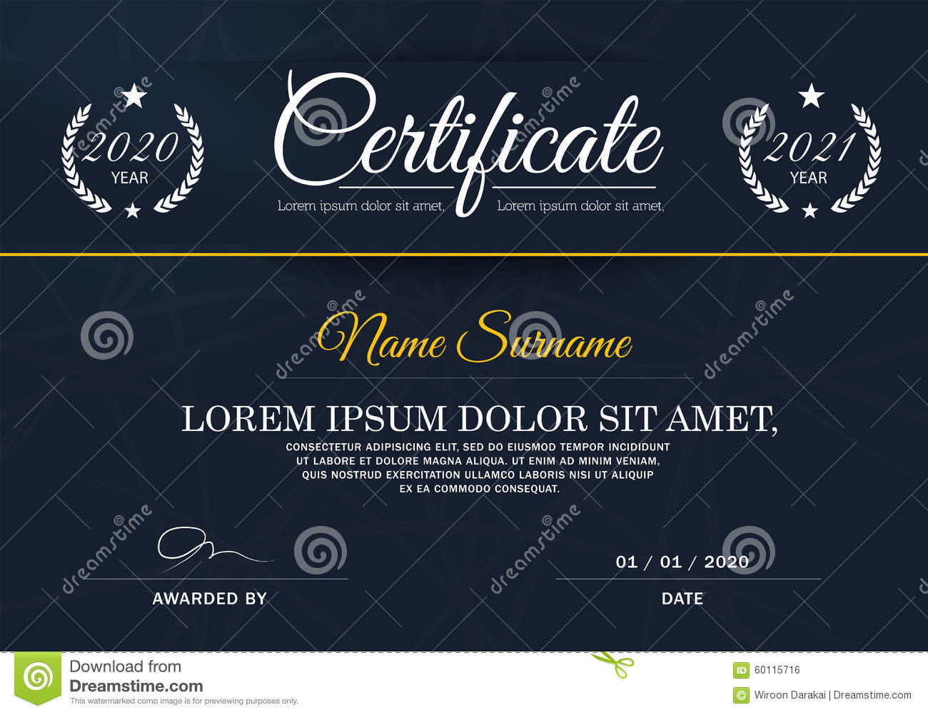 certificate of achievement frame design template blue