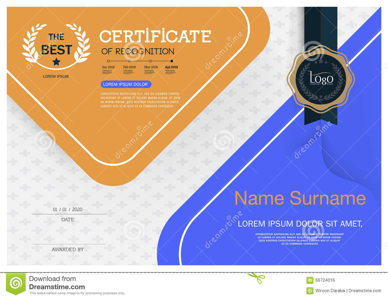Certificate of achievement frame design template layout template in A4 size