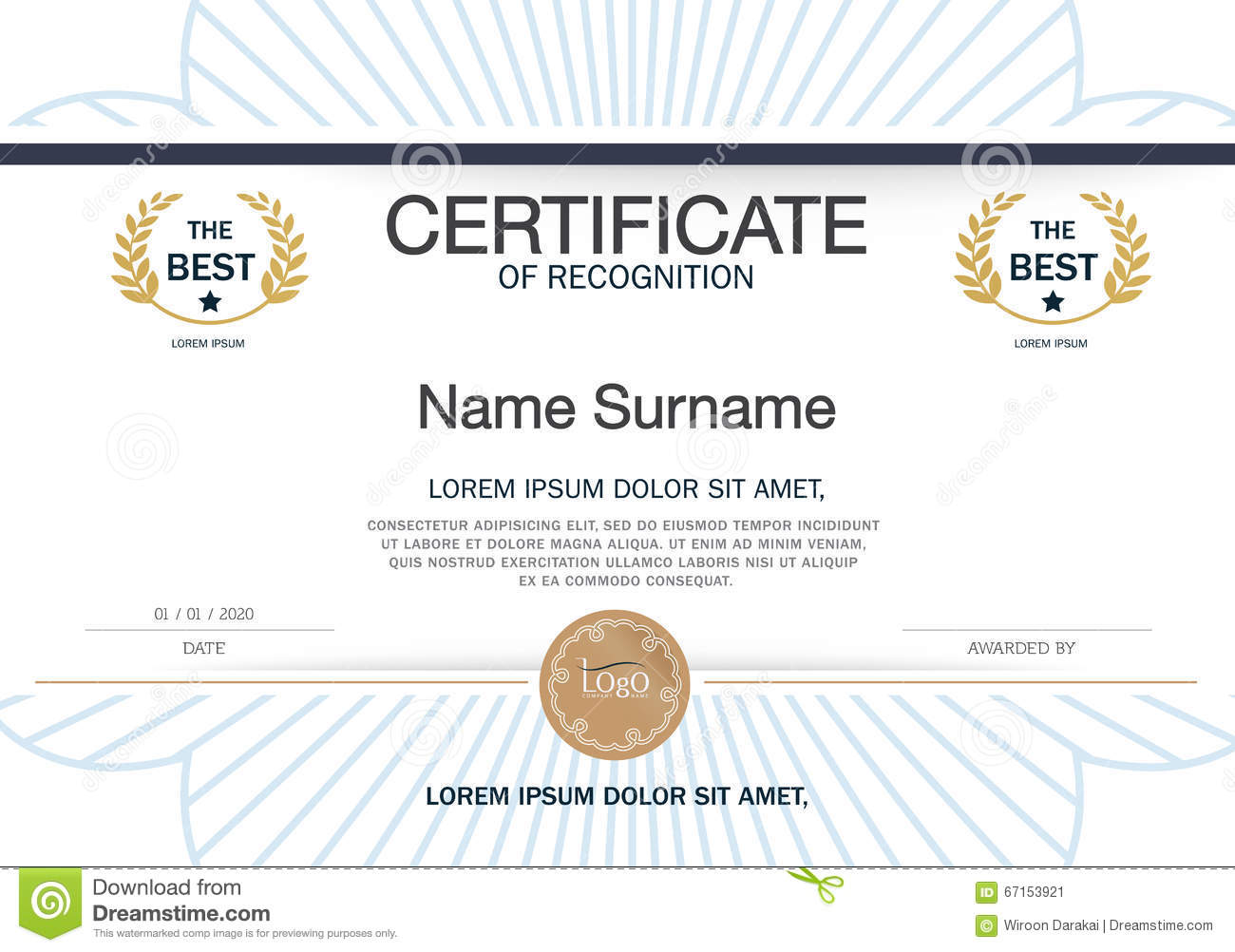 certificate frame template - certificate of achievement frame design template layout