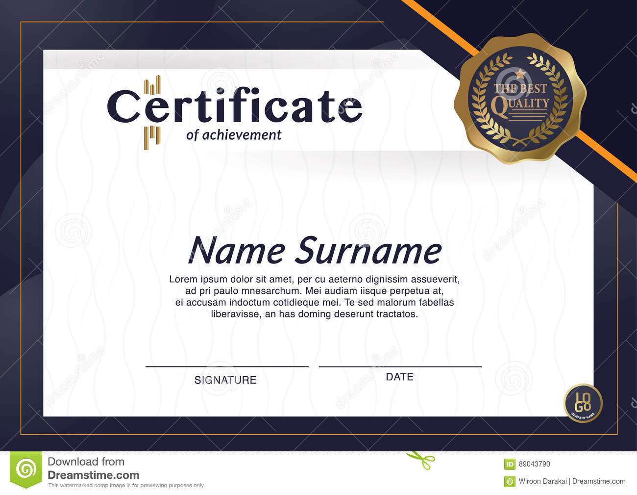 Certificate Of Achievement Frame Design Template Layout Template In