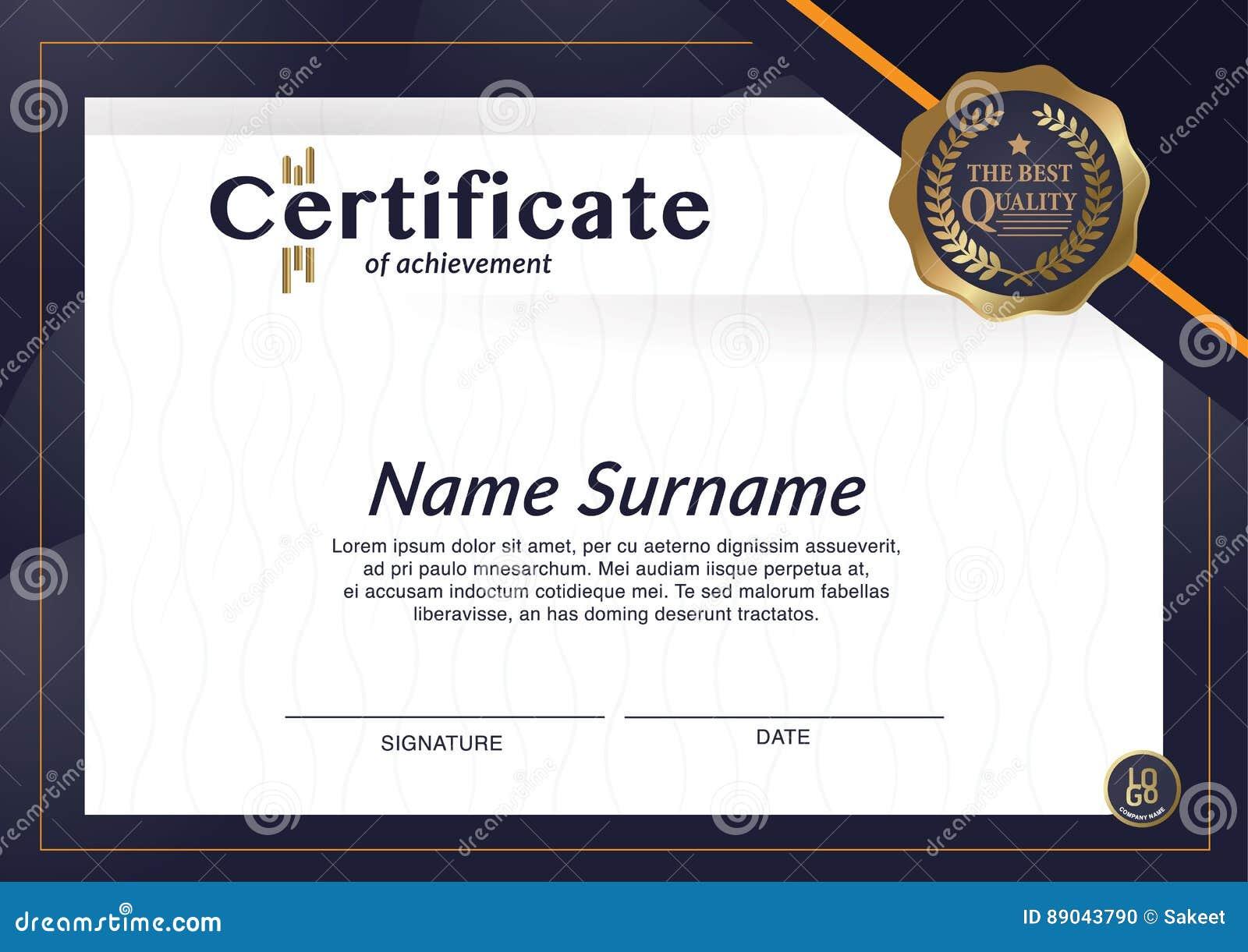 10 x Certificate of Achievement A4