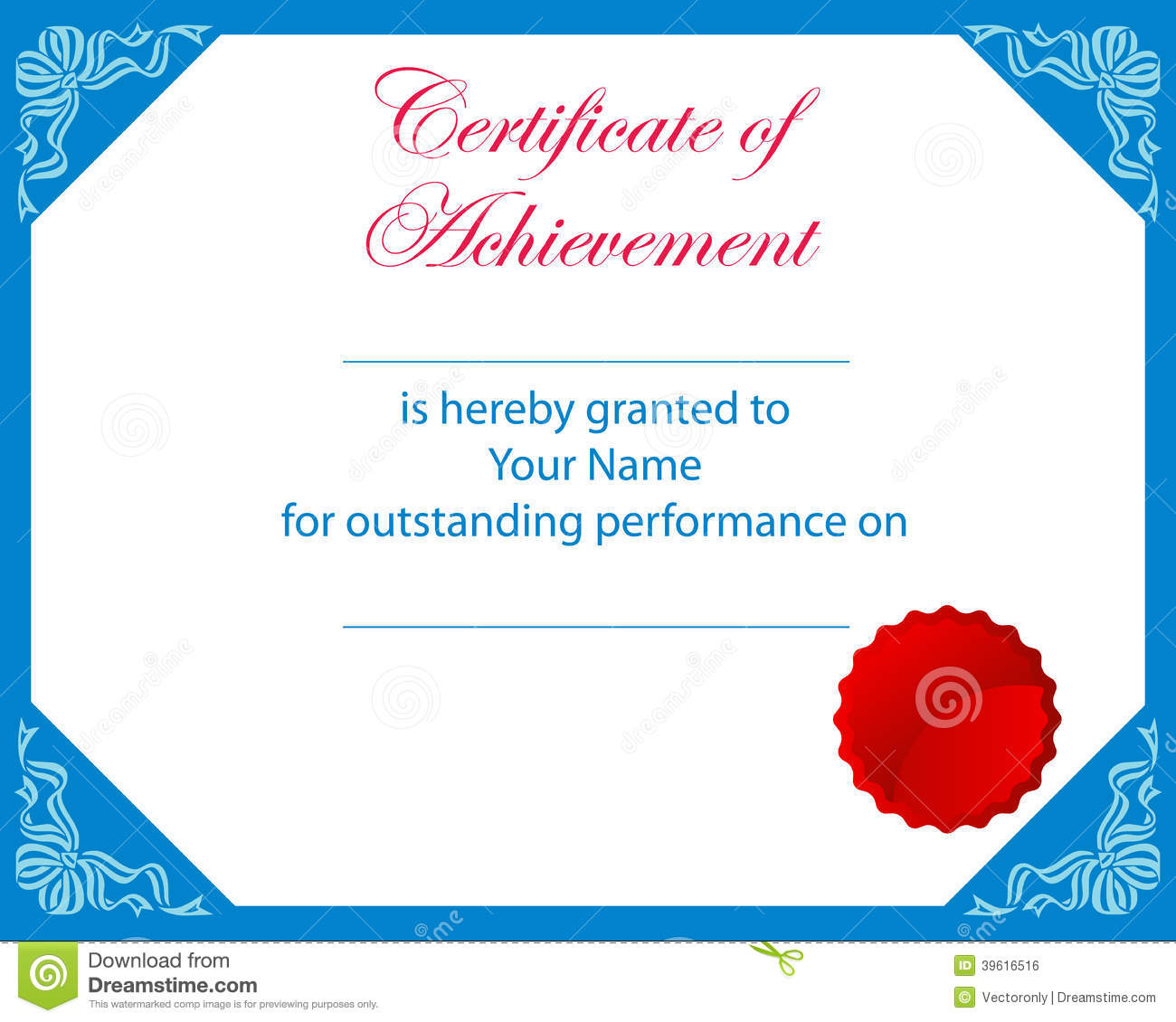 certificate of achievement stock vector  illustration of