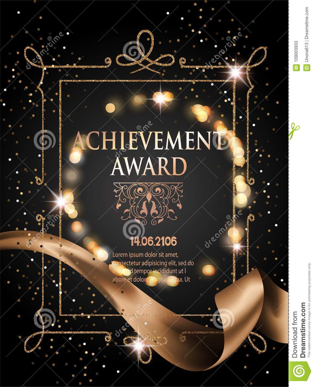 certificate of achievement sheet with gold ribbon and vintage frame