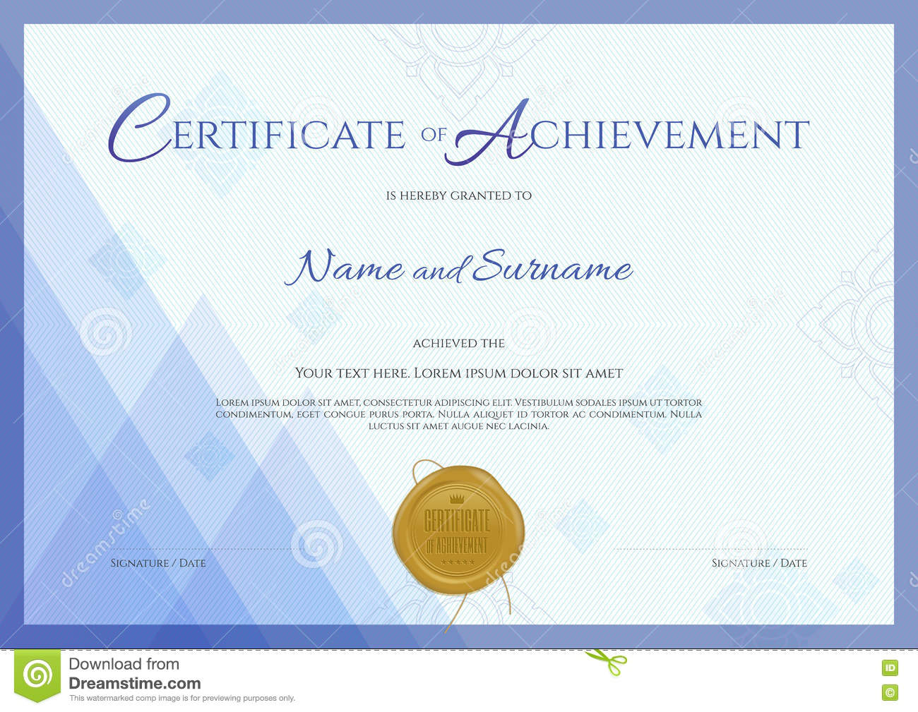 Certificate Of Achievement Template With Blue Theme Background  Certificate Of Achievement Template