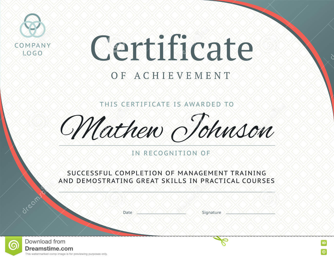 Certificate Of Achievement Template Design. Business Diploma Illustration  79943332   Megapixl  Certificate Of Training Template
