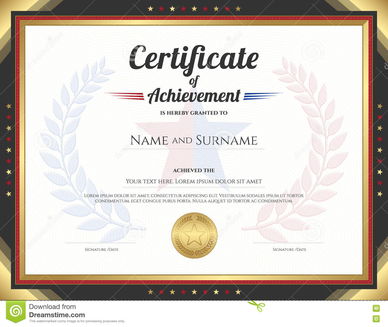 Certificate Of Achievement Template With Gold Border Theme Stock