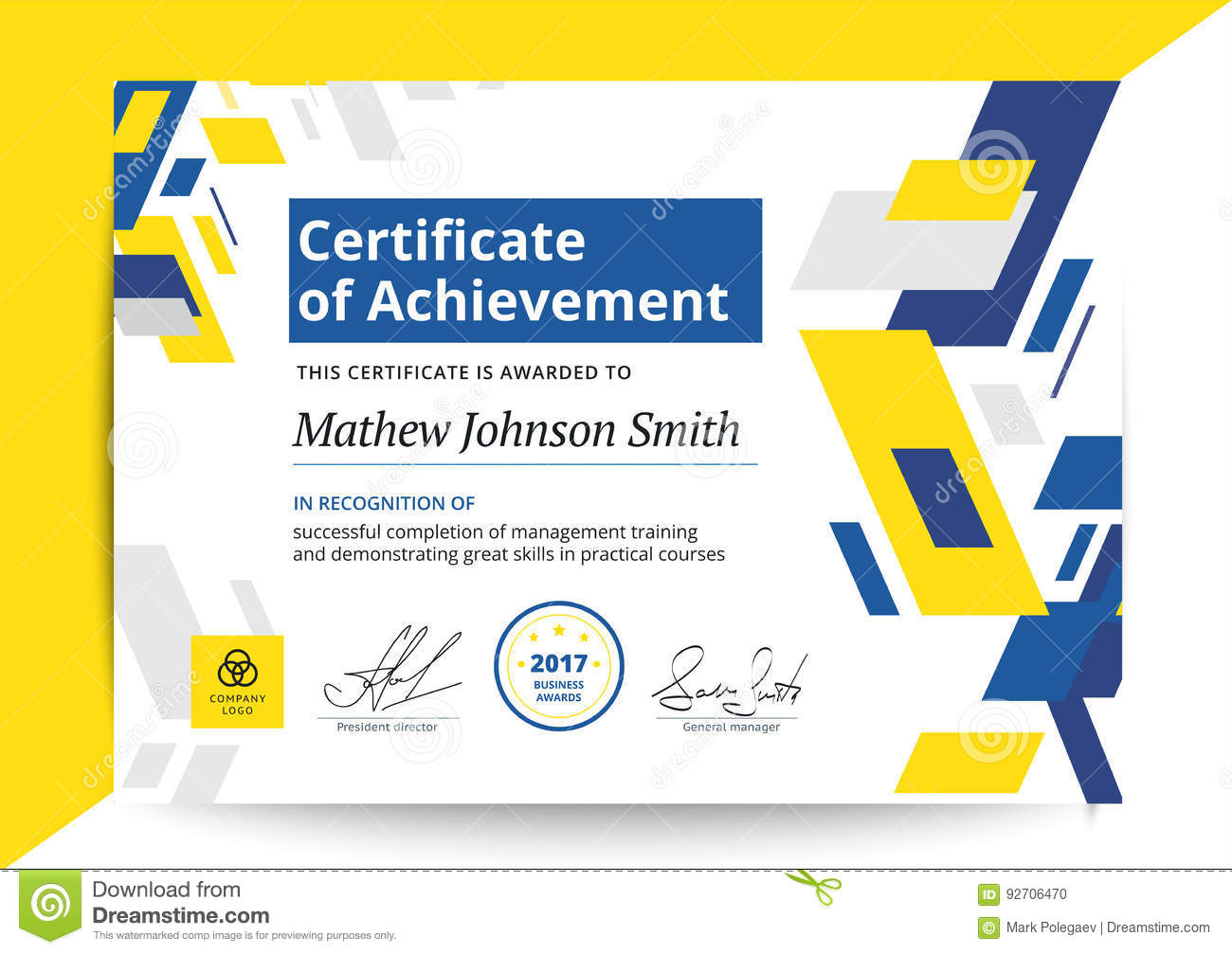 certificate of achievement template in modern design business d