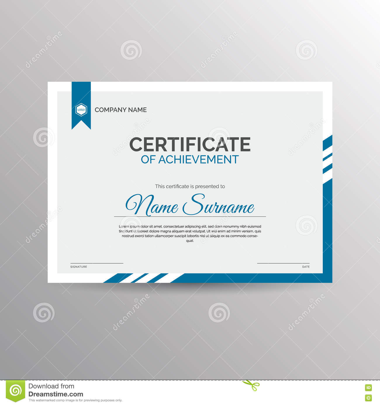 Certificate Of Achievement Template Stock Image Image Of Achieve