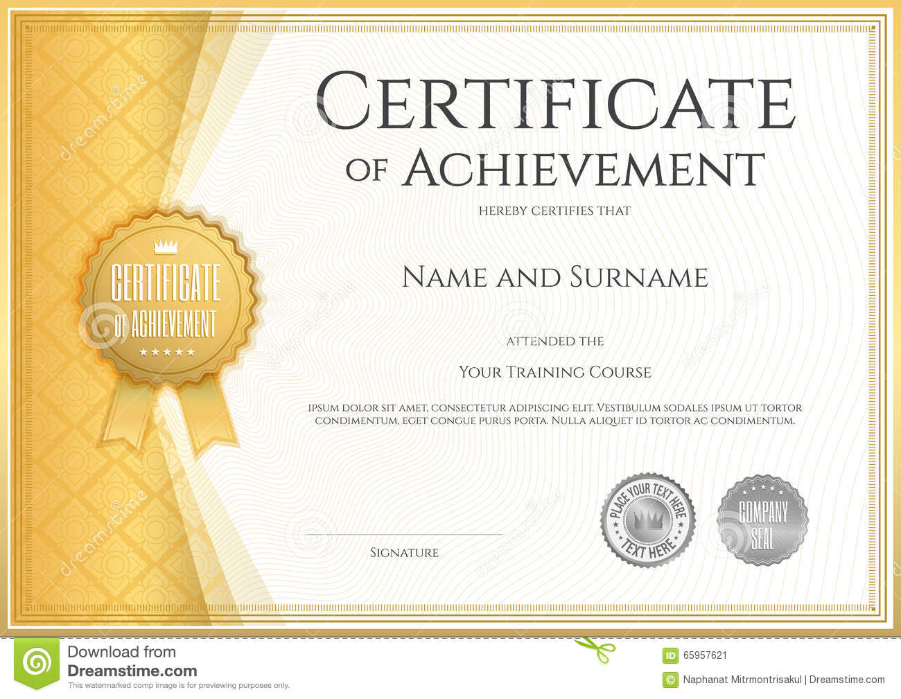 Certificate Of Achievement Template In Vector. Royalty Free Vector  Certificates Of Achievement Free Templates
