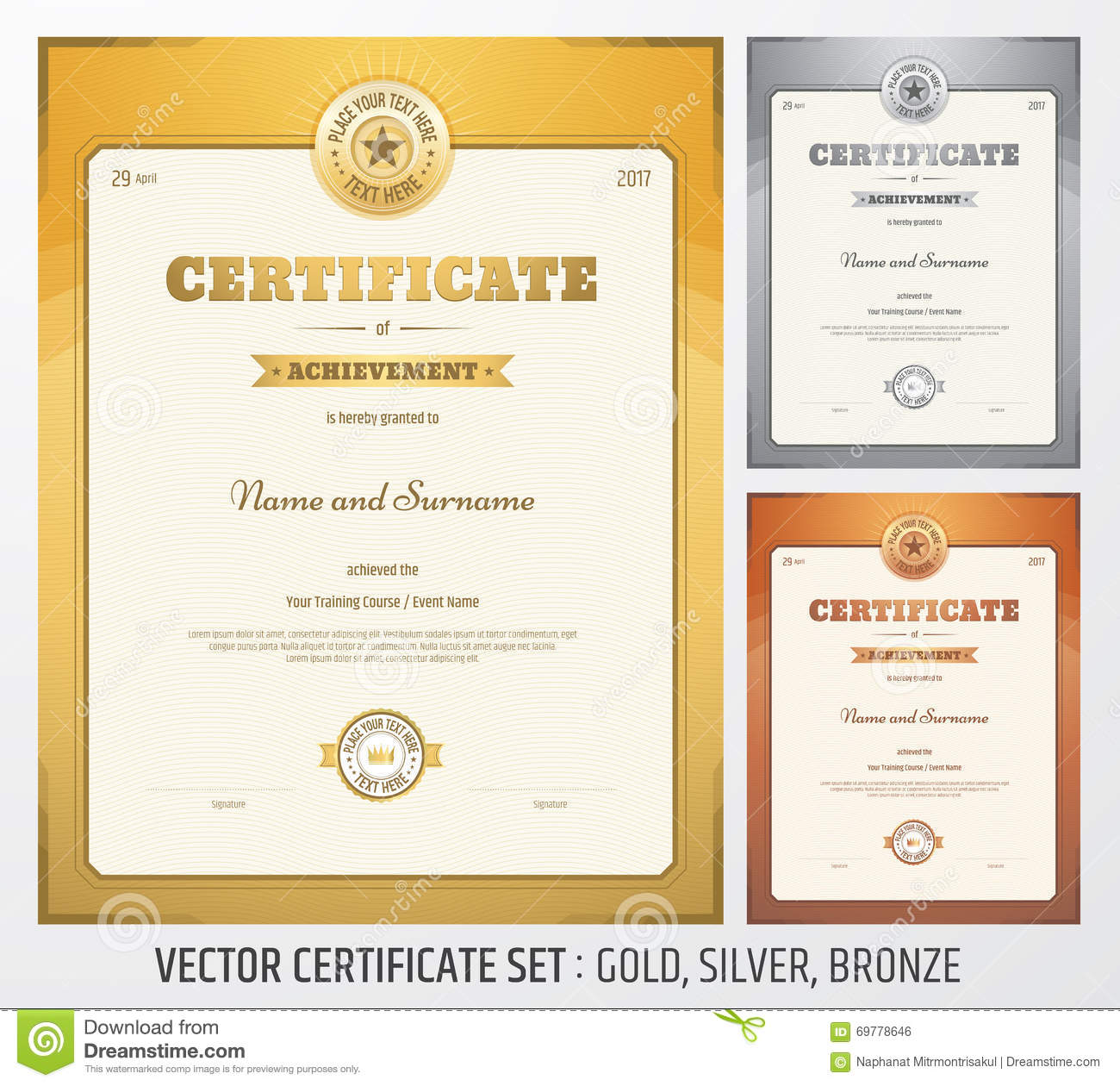 Certificate of achievement template in vector stock vector image royalty free vector download certificate of achievement template yadclub Image collections