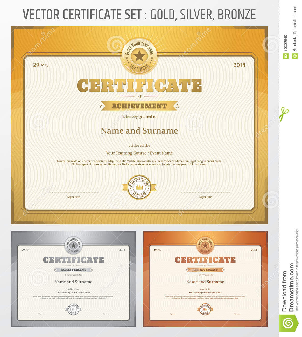 Certificate of achievement template in vector in gold silver and royalty free vector download certificate of achievement template yadclub Image collections