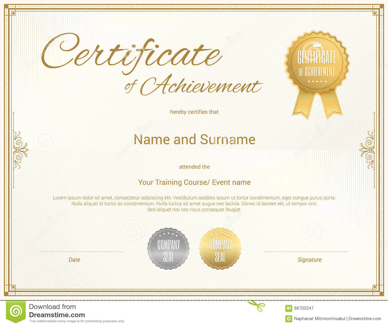 Certificate Of Achievement Template In Vector Vector Image – Template Certificate of Achievement