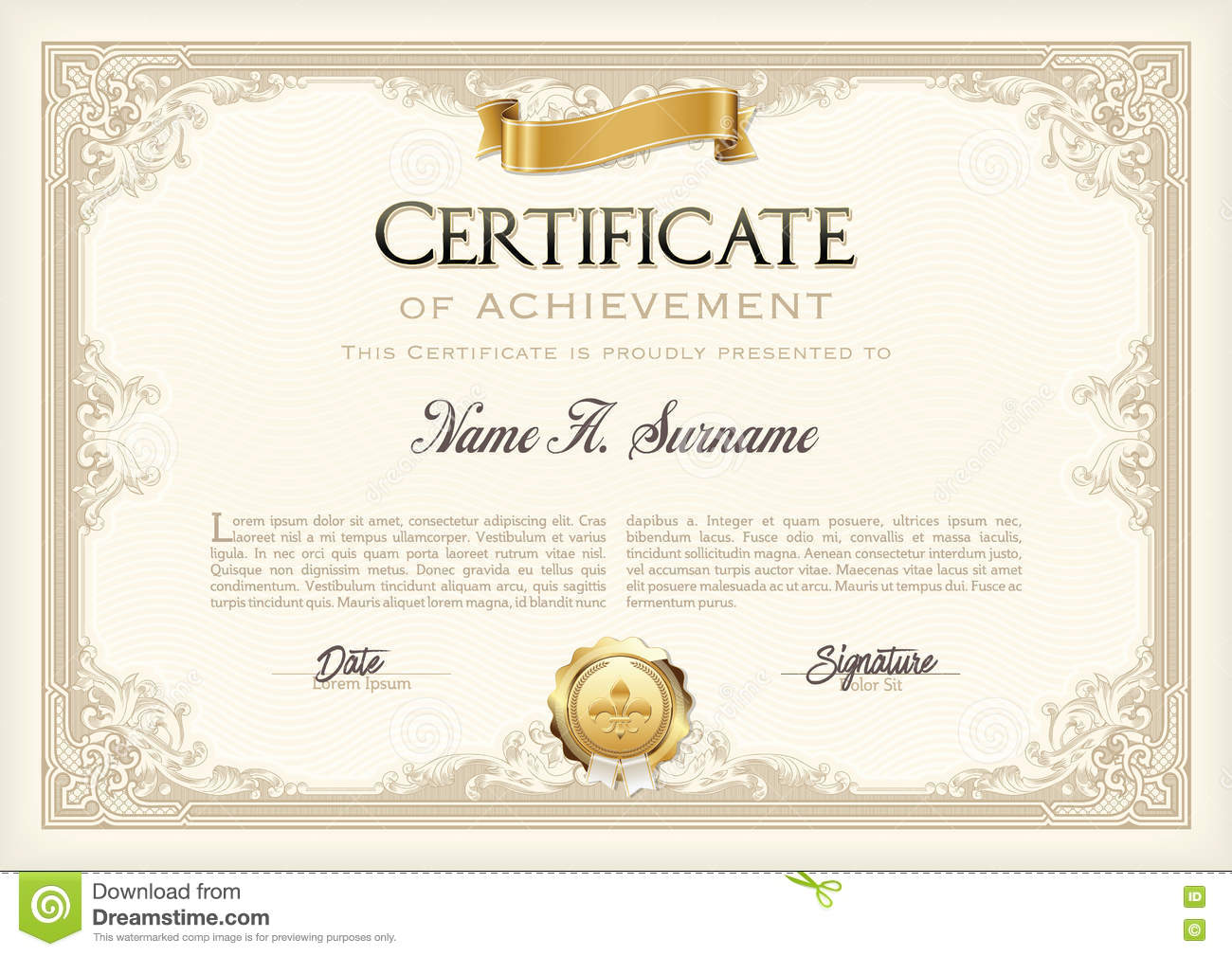 Certificate Of Achievement Vintage Frame With Gold Ribbon – Free Certificate of Achievement