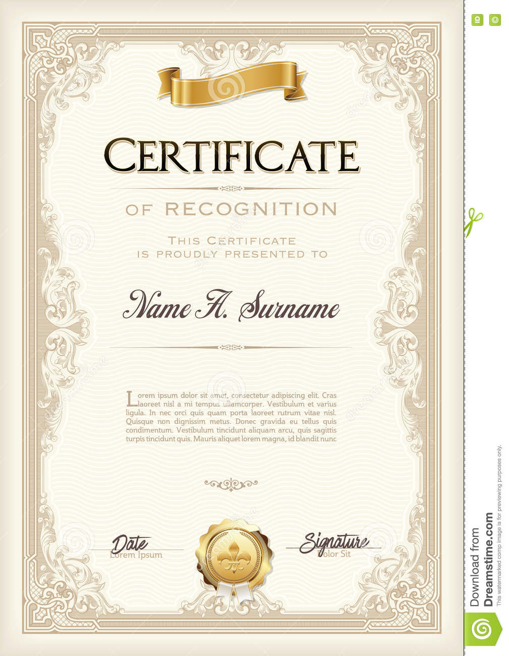 certificate of achievement vintage frame with gold ribbon portrait