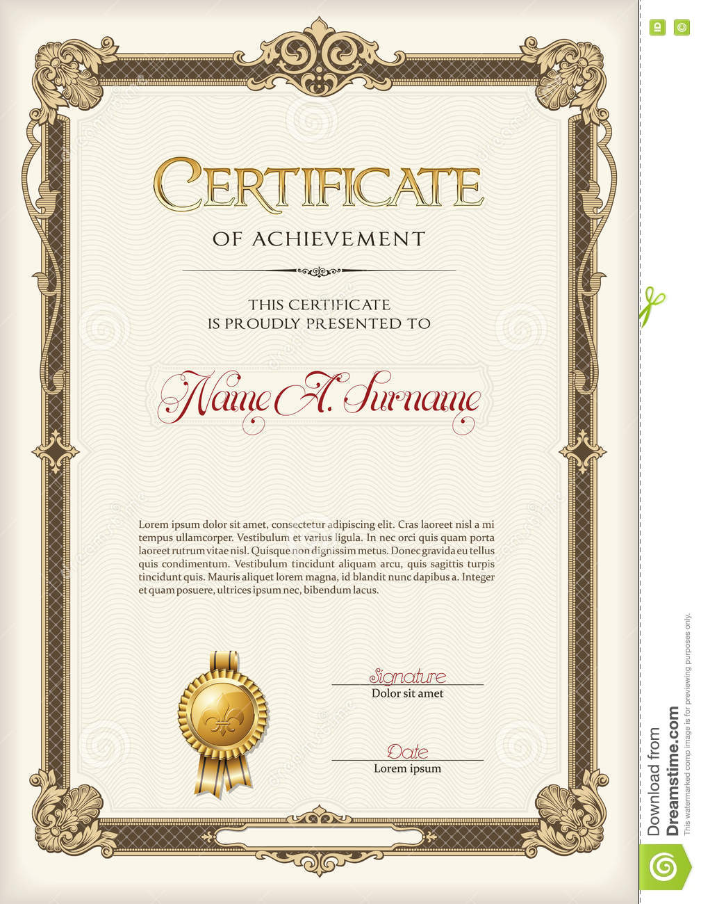 Certificate of achievement portrait with antique vintage for Certificate template word portrait