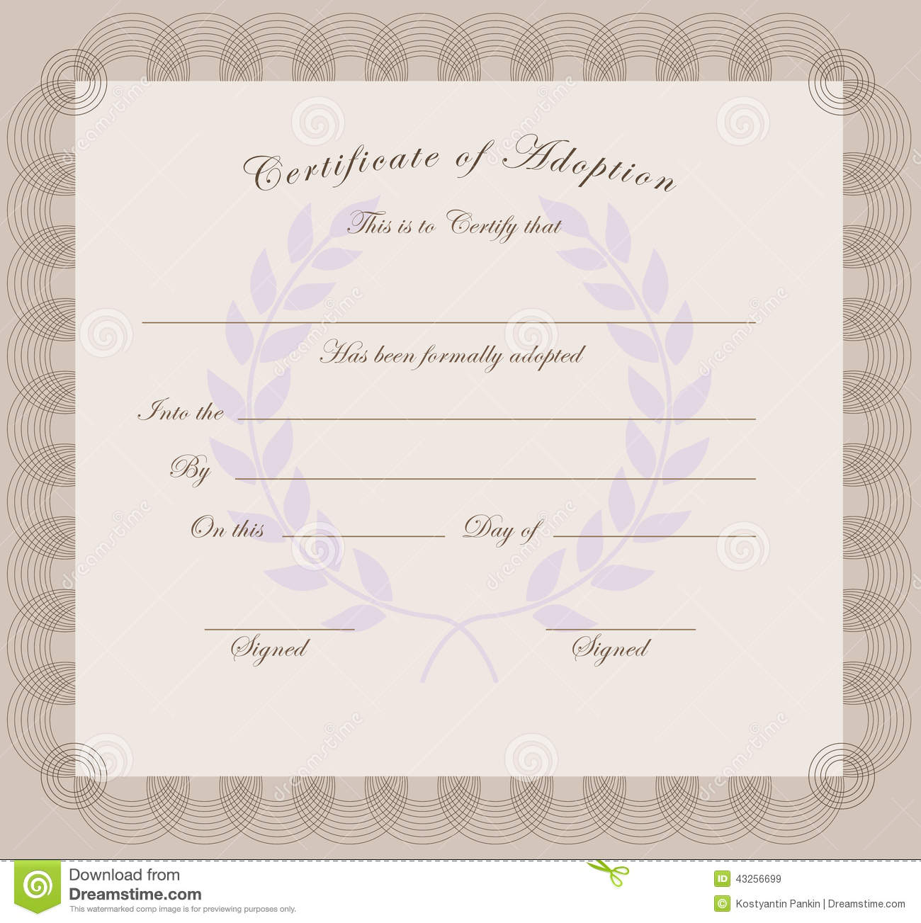 Certificate Of Adoption Stock Vector - Image: 43256699