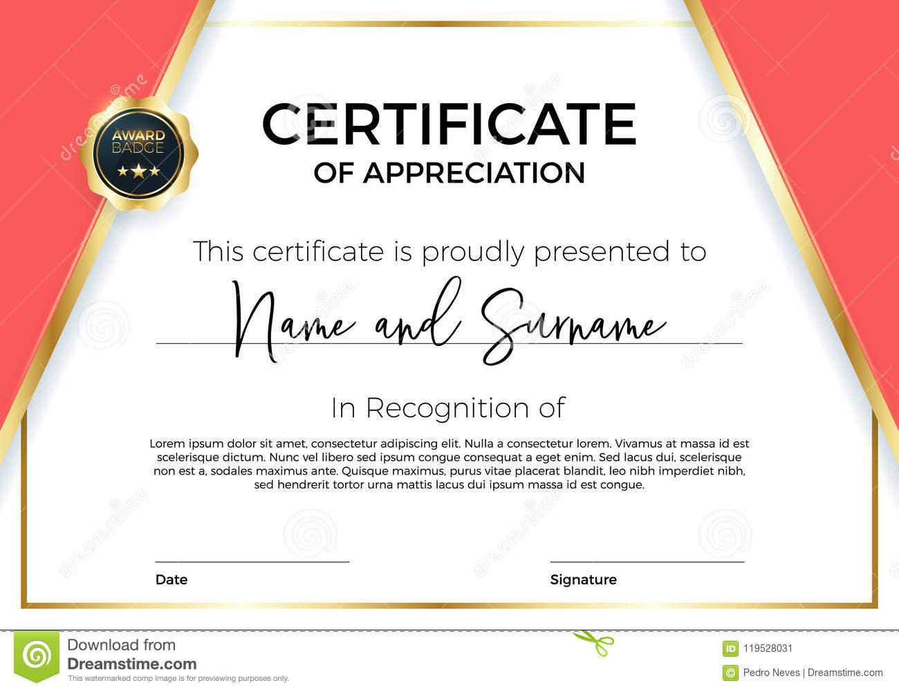 certificate of appreciation or achievement with award badge premium