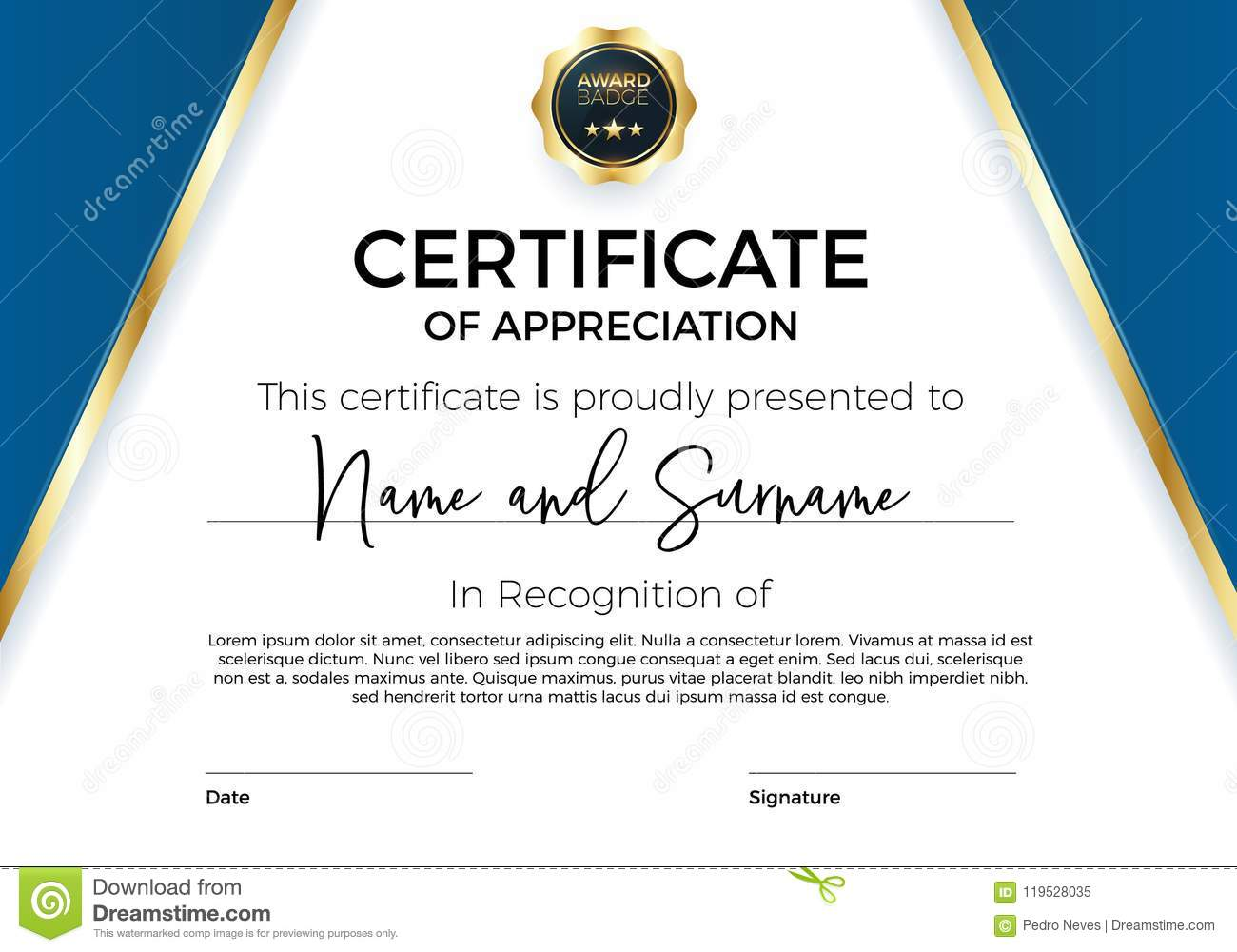 Certificate Of Appreciation Or Achievement With Award ...