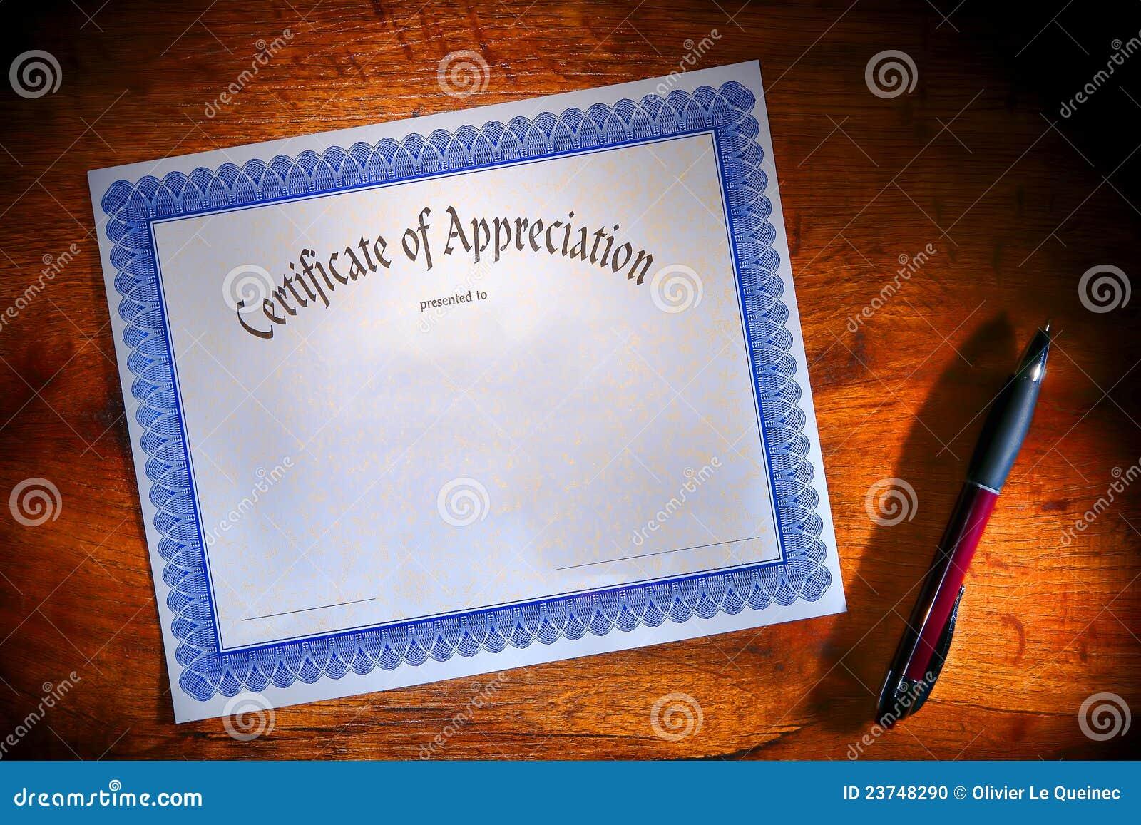 Certificate Of Appreciation Blank Document On Desk Stock