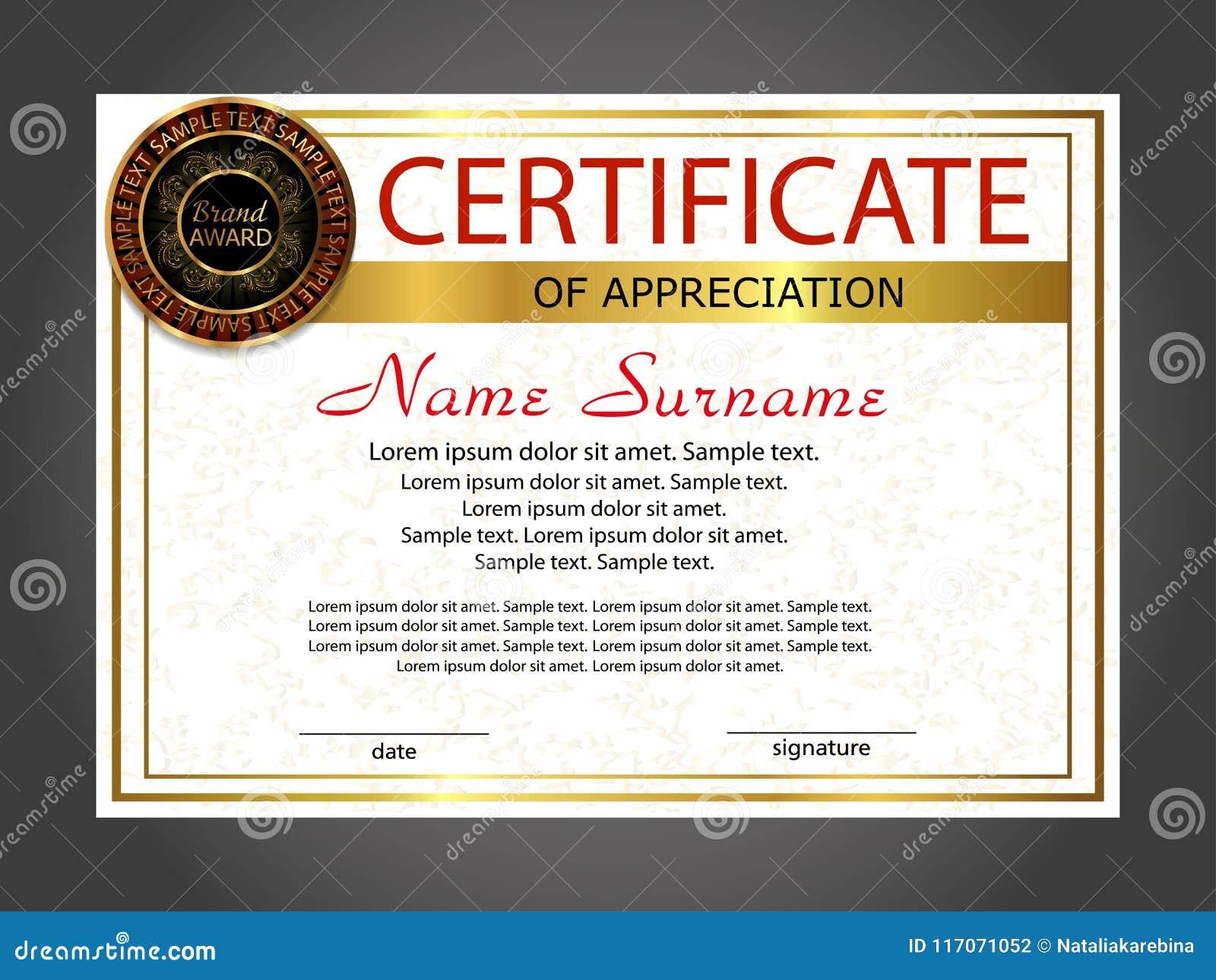 certificate of appreciation diploma template award winner reward