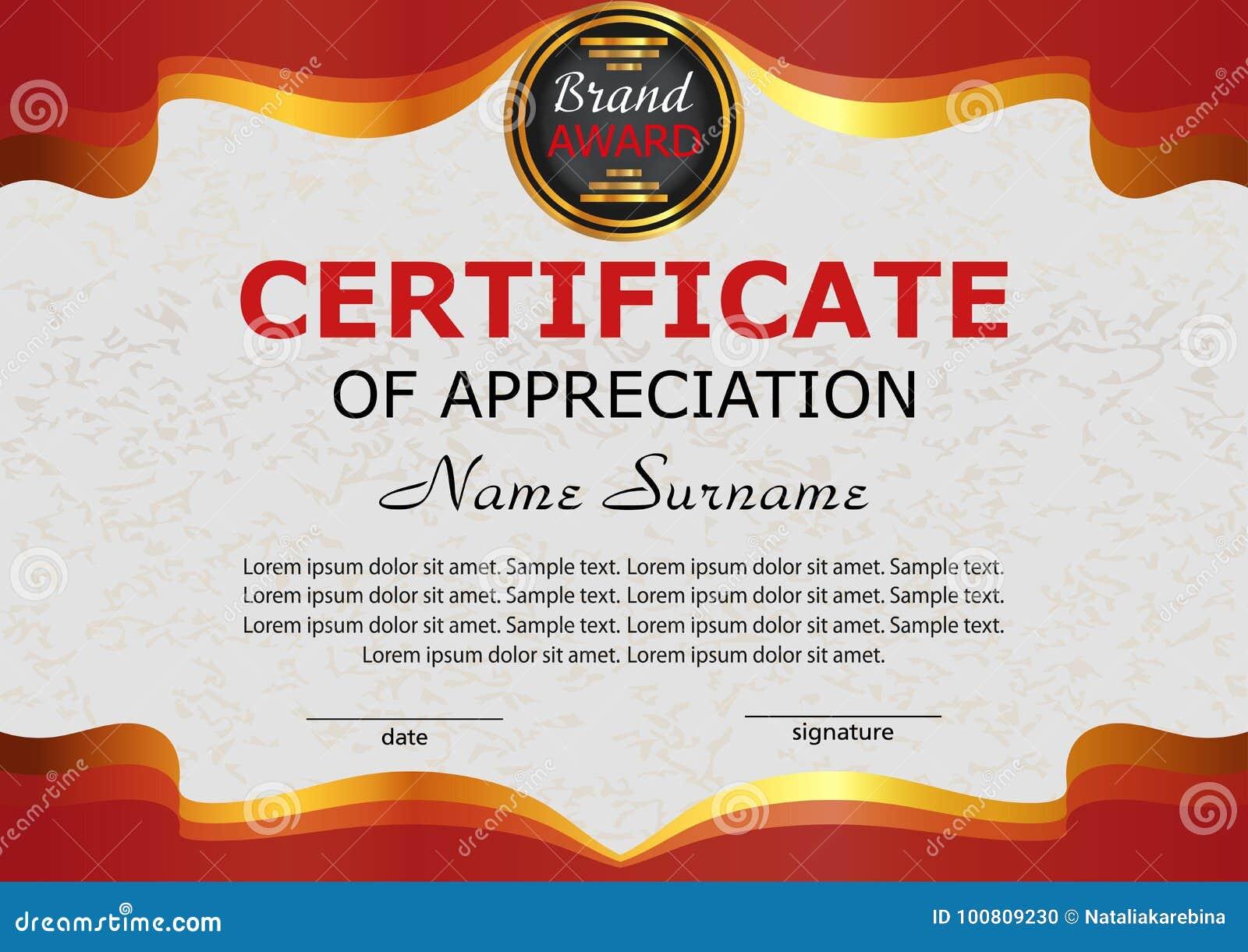 Certificate Appreciation Elegant Red Template Reward Winning