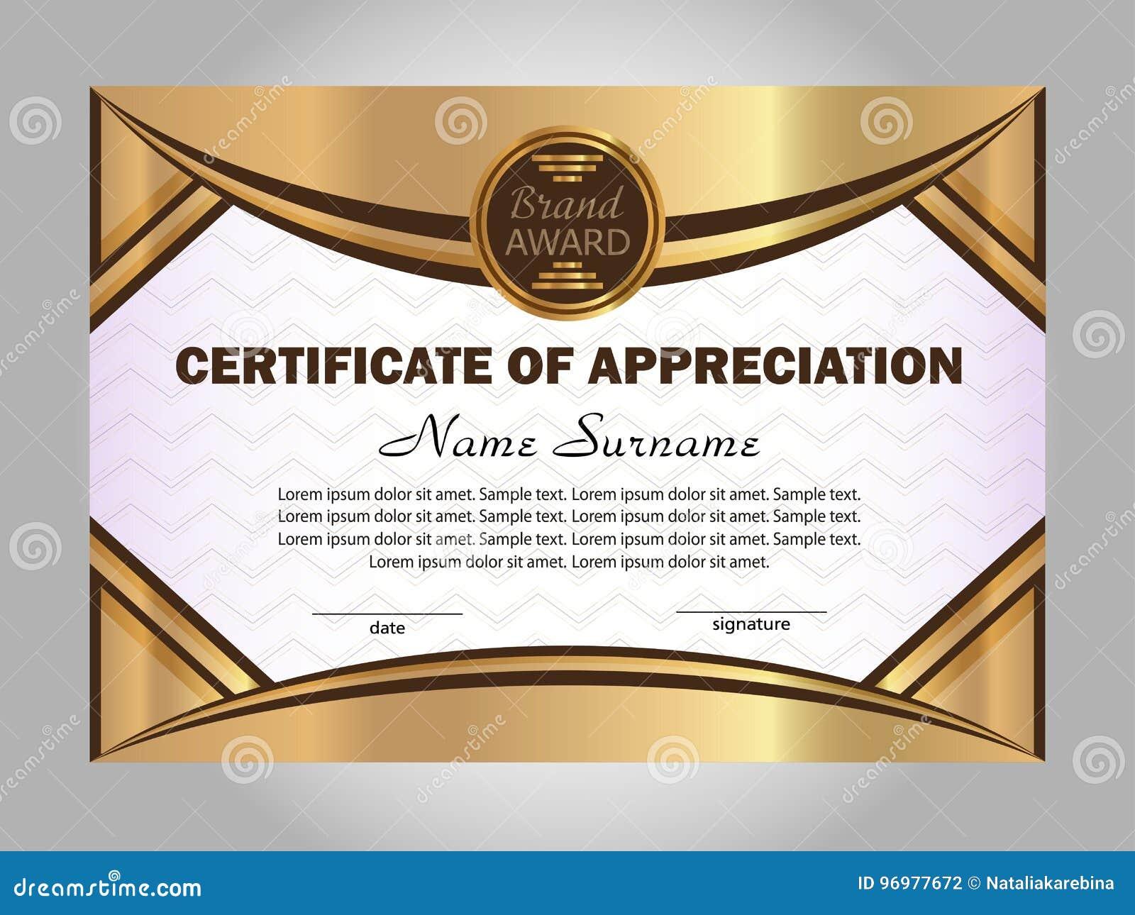 Certificate of Appreciation. Gold Template. Elegant Background For Certificates Of Appreciation Template