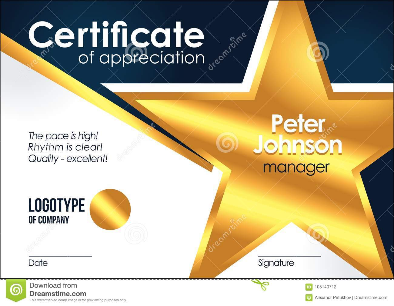 Certificate Of Appreciation Golden Muniment Or Diploma Template With