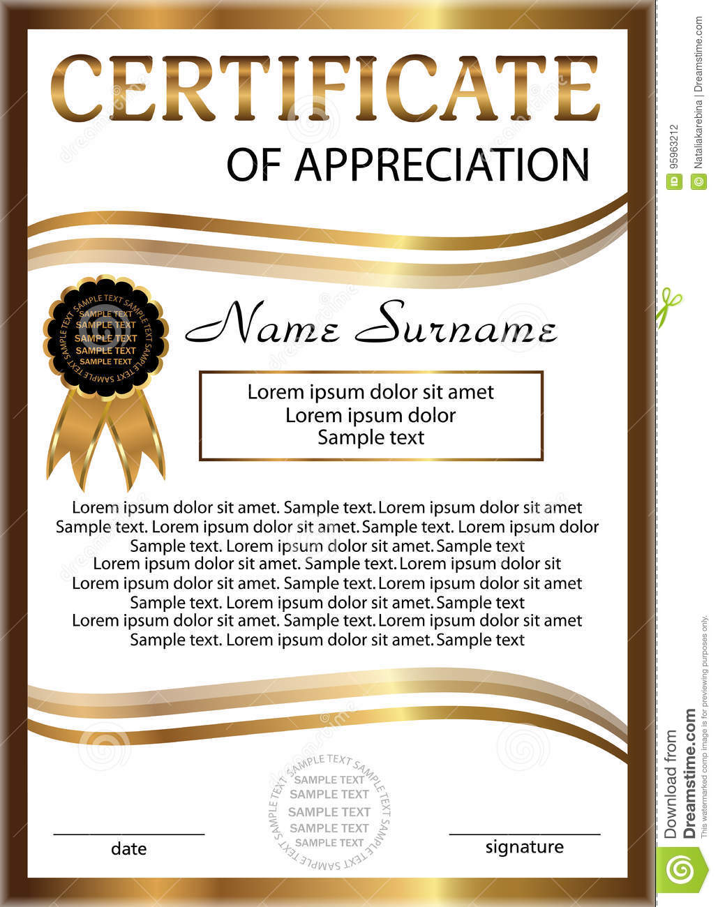 Certificate Appreciation Golden Template Vertical