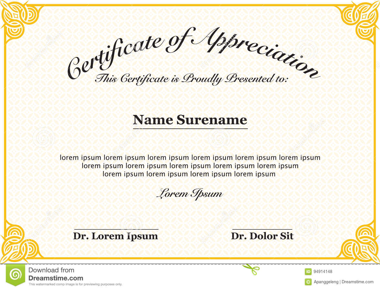 certificate of appreciation stock vector illustration of editable