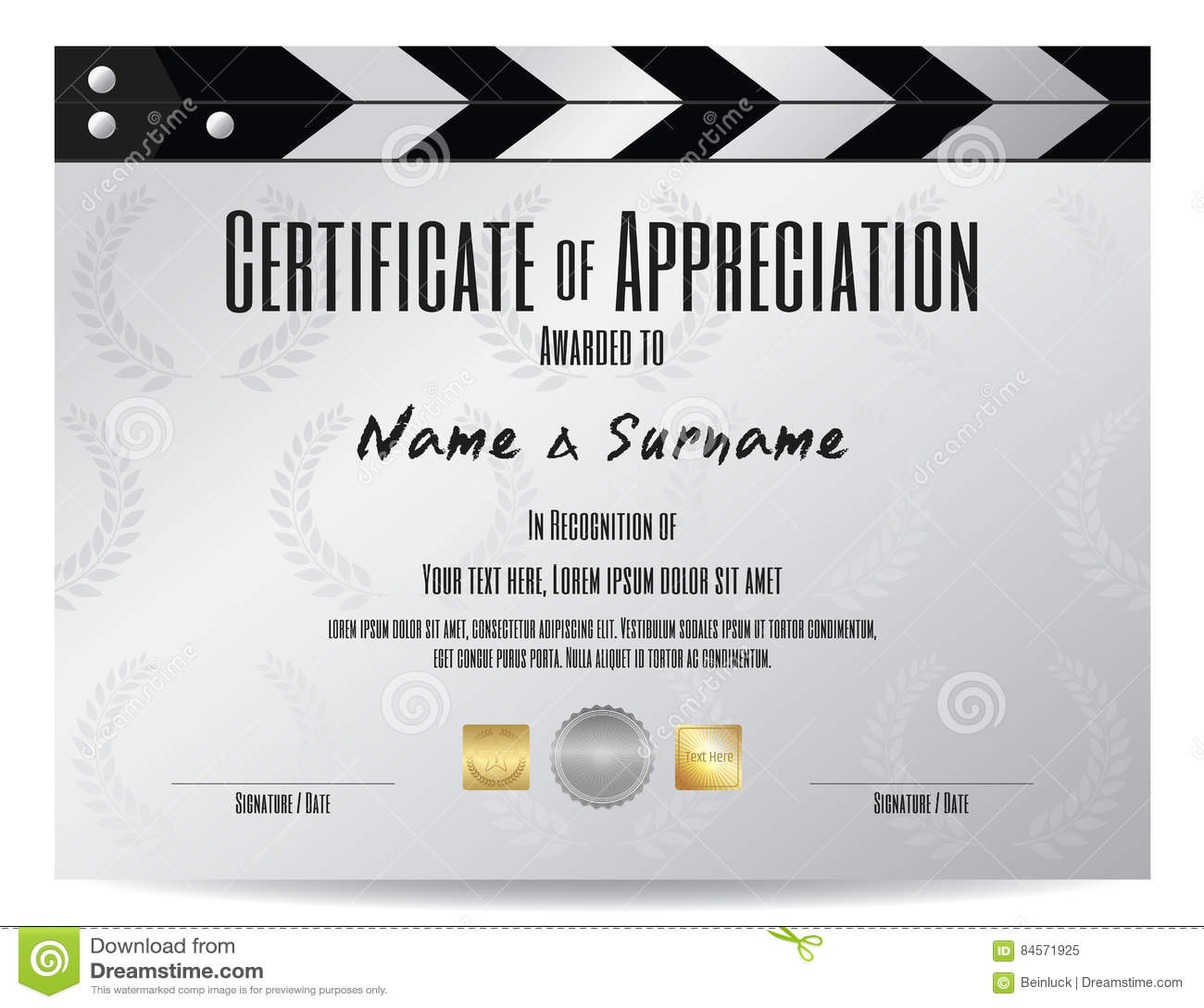 Certificate Of Appreciation With Movie Film Slate In Silver Tone ...