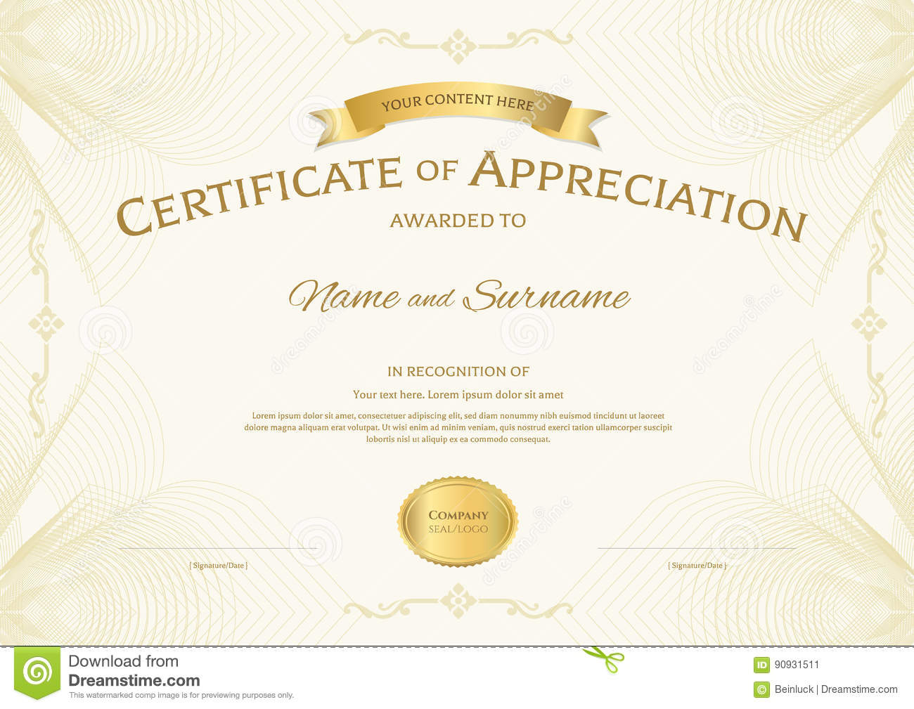 Certificate of appreciation template with award ribbon on abstra certificate of appreciation template with award ribbon on abstra stock image yadclub Images