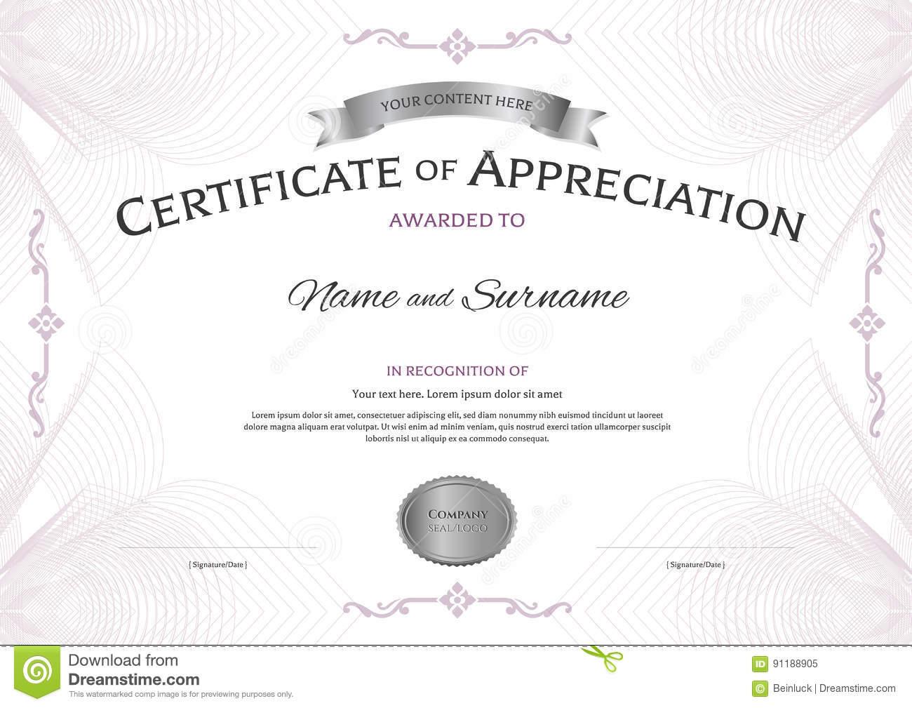 Certificate of appreciation template with award ribbon on abstra certificate of appreciation template with award ribbon on abstra royalty free vector yelopaper Image collections