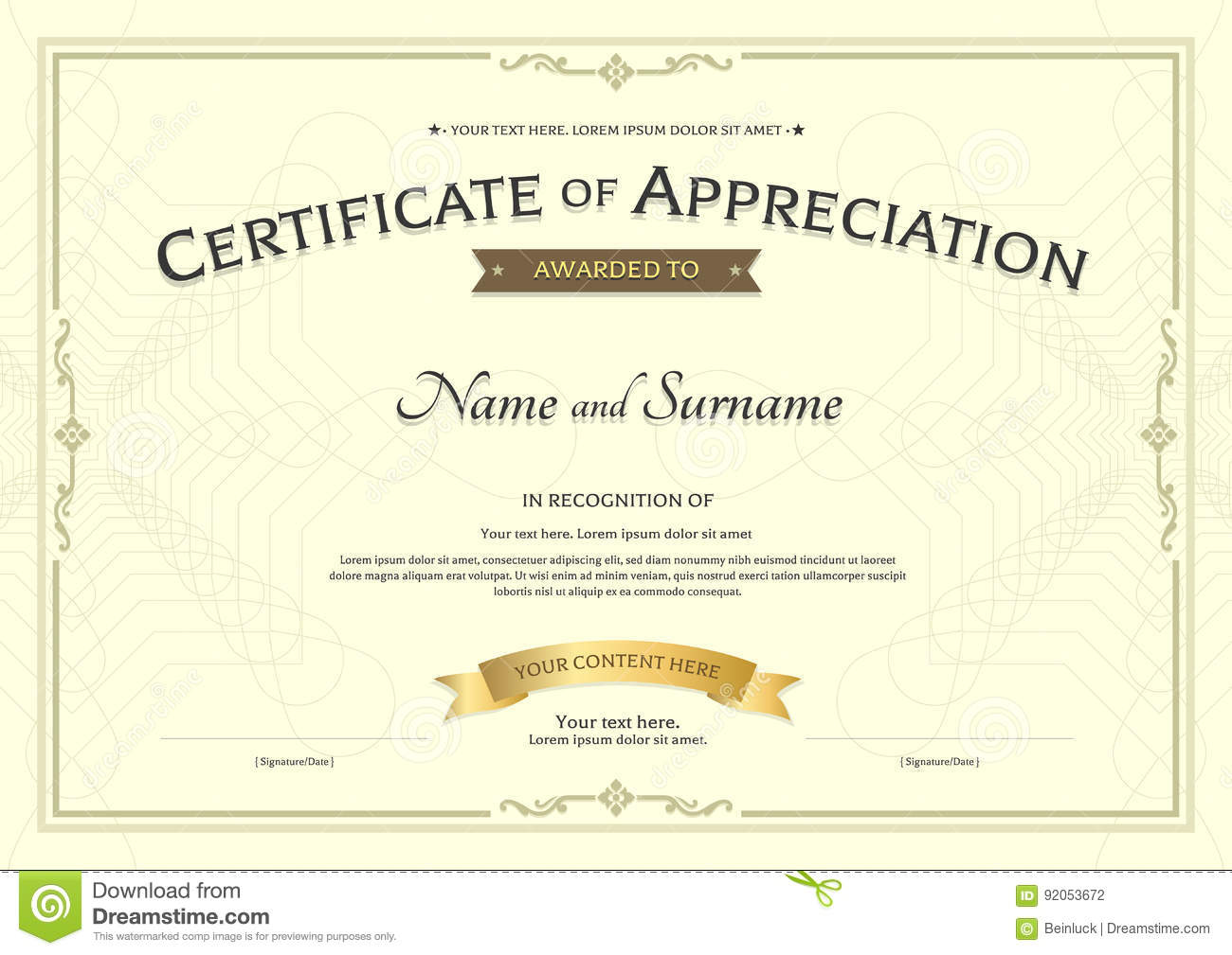 certificate of appreciation template with award ribbon on abstra
