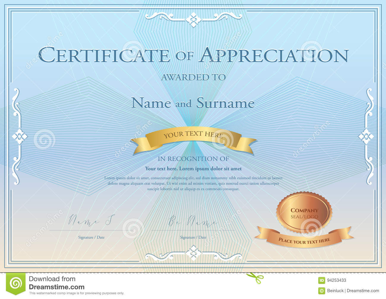 Certificate of appreciation template with award ribbon on abstra royalty free vector download certificate of appreciation yadclub Images