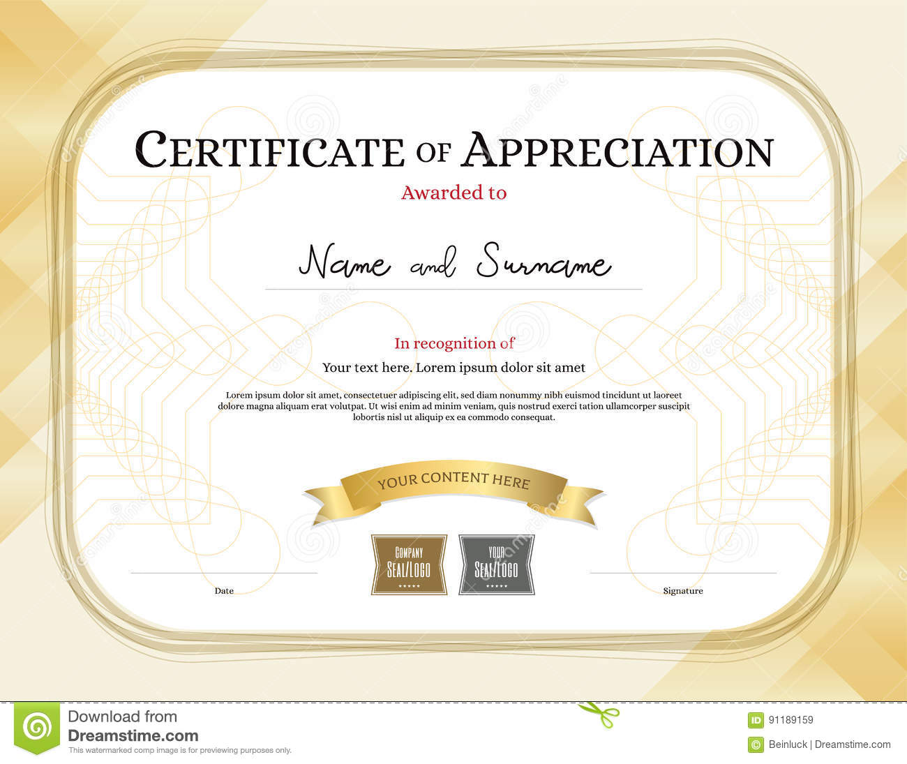 certificate of appreciation template with award ribbon gold tone