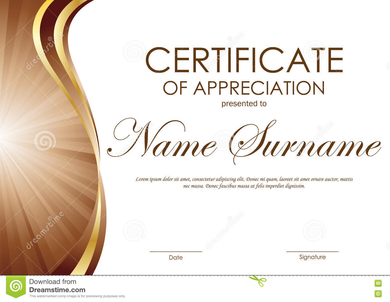 Certificate Of Appreciation Ms Word Download This Certificate Certificate  Appreciation Template Brown Gold Wavy Curved Swirl  Certificate Of Appreciation Word Template