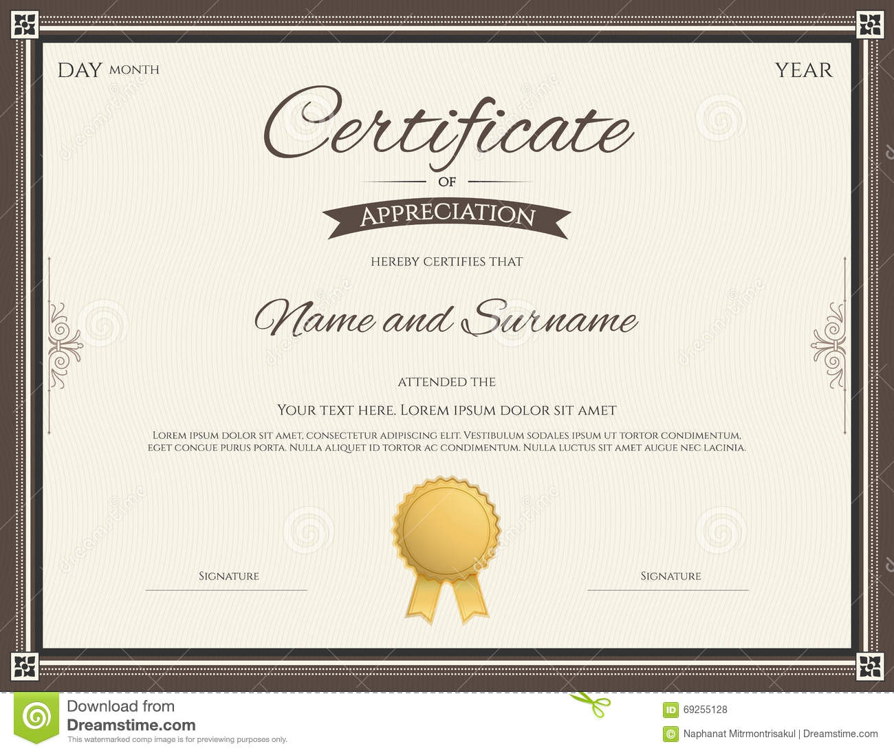 Certificate Of Appreciation Template Stock Vector ...