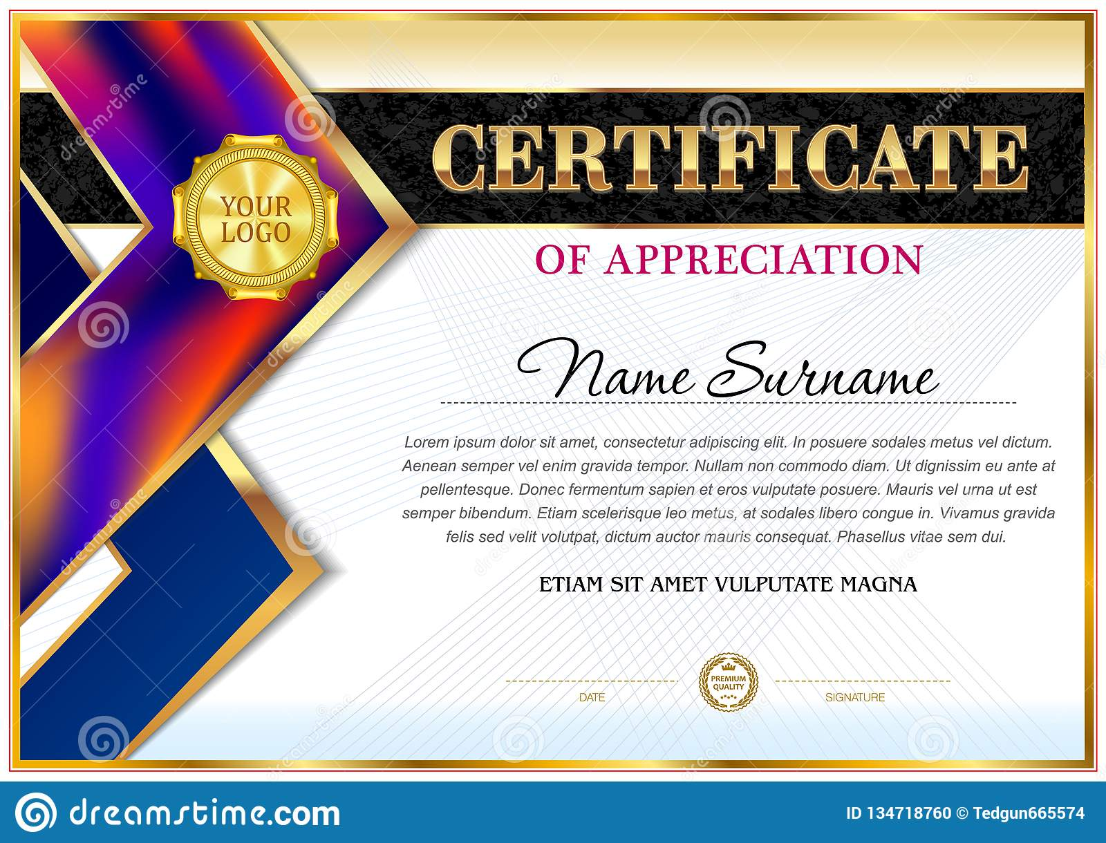 Certificate Of Appreciation Template. Stock Illustration Intended For Free Template For Certificate Of Recognition