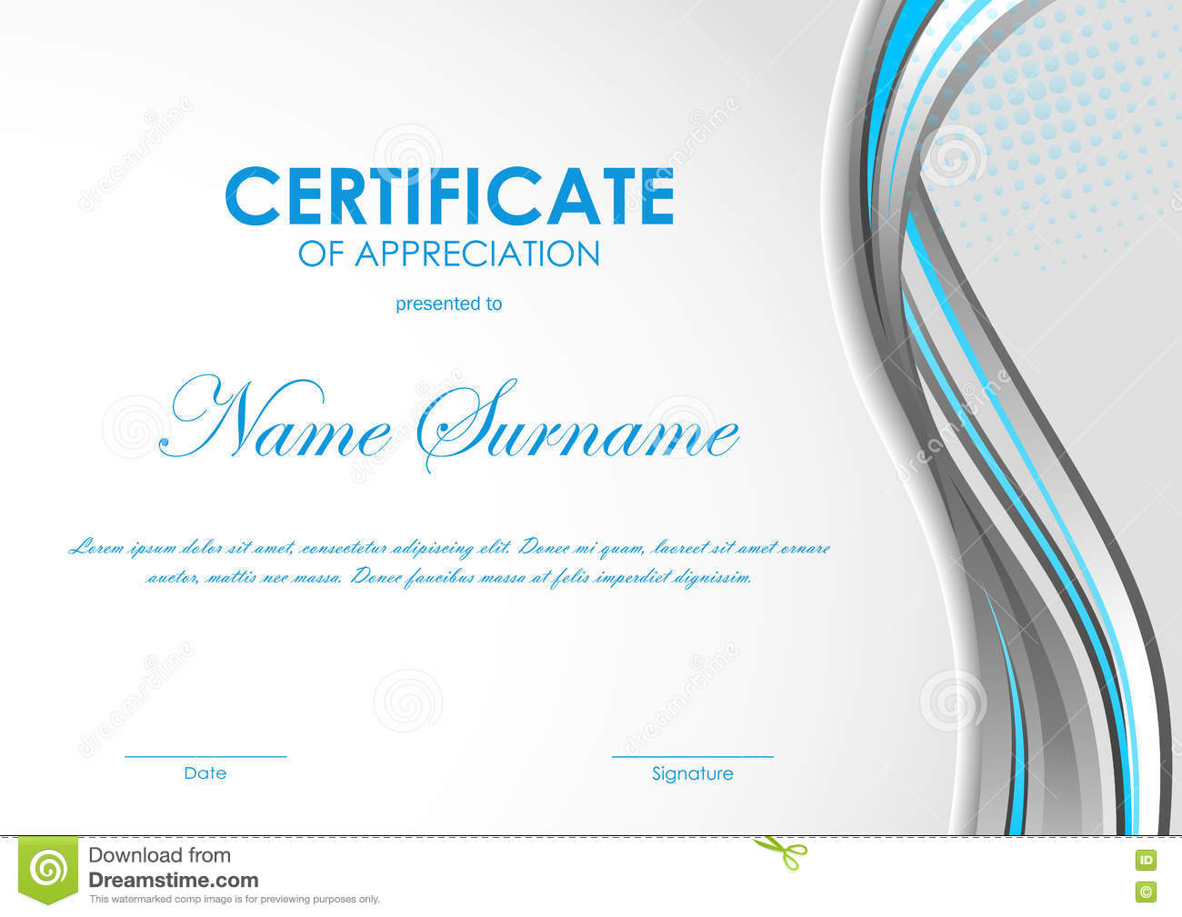 Certificate Of Appreciation Template Stock Vector Illustration Of