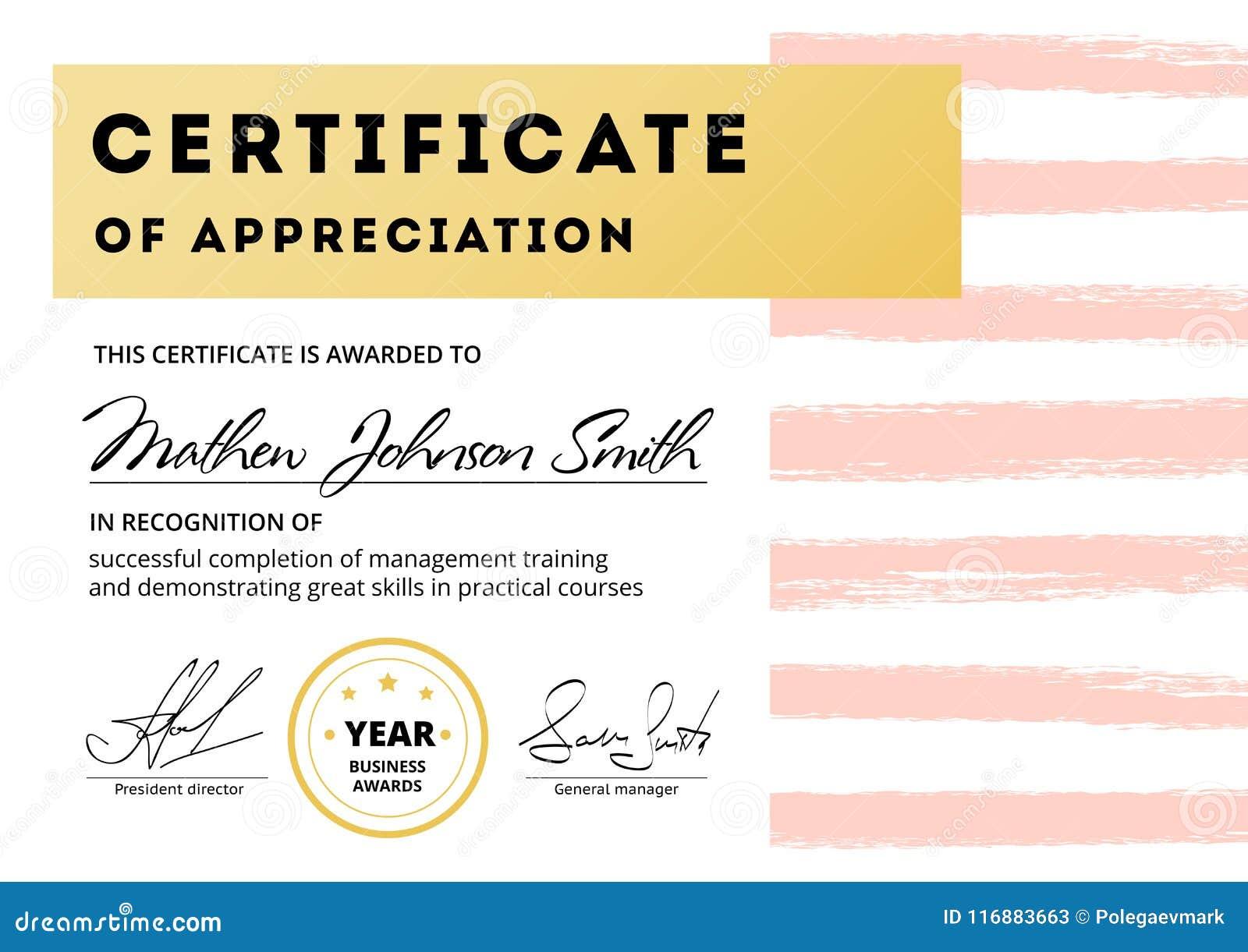 Certificate Of Appreciation Template Design Elegant Business Di